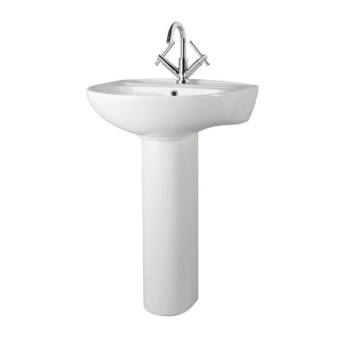 Essentials 550mm Basin & Pedestal - 1 Tap Hole